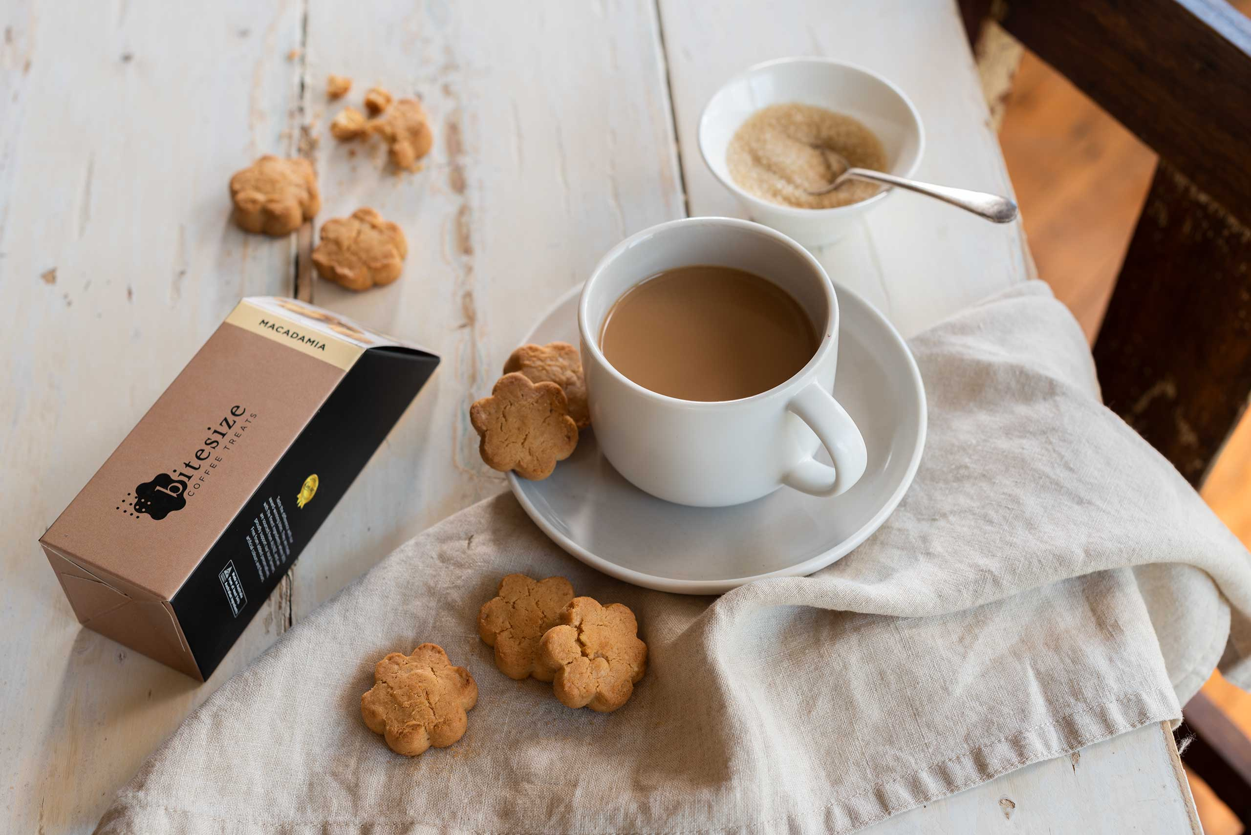 Macadamia bite size biscuit treats, recent lifestyle and product photography