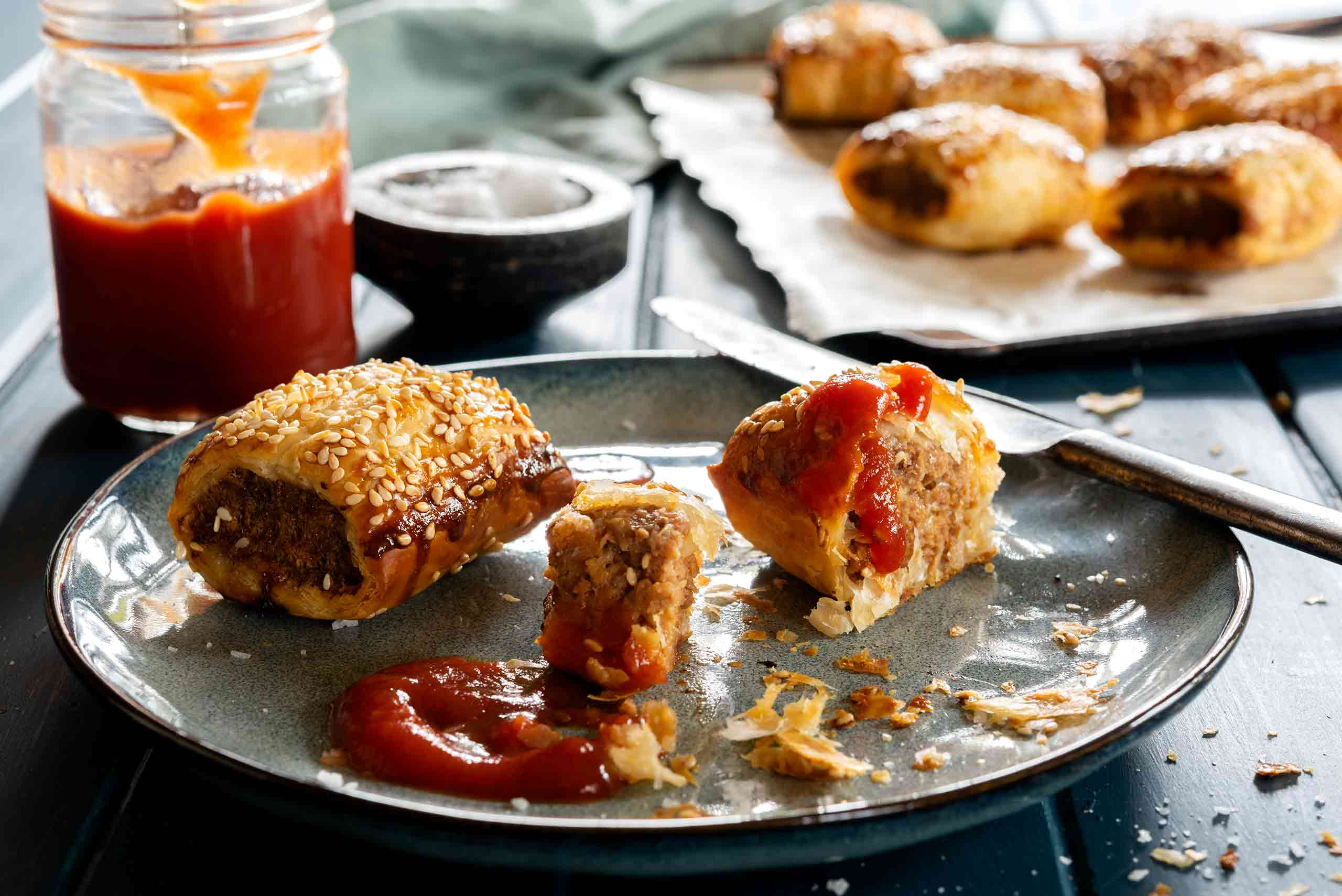 Food photography featuring delicious homemade sausage rolls