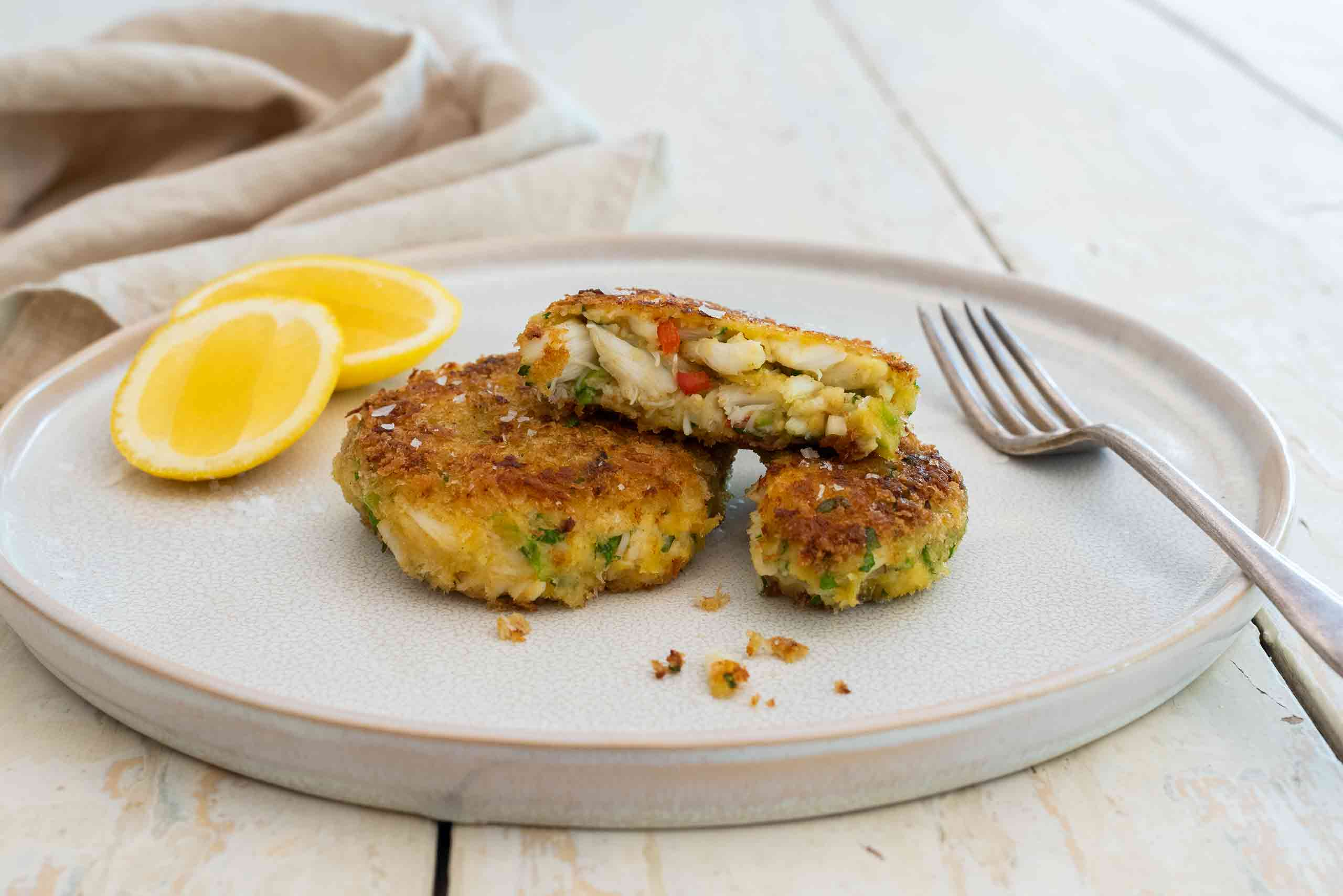 Editorial food photography featuring Crab Cakes with Fraser Isle Spanner Crab by Australian food expert Tawnya Bahr