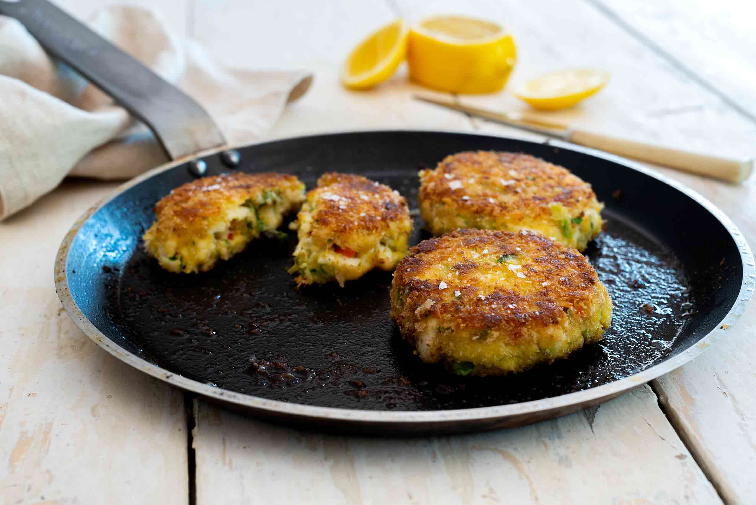 Editorial food photography featuring Crab Cakes in the frypan by Australian food expert Tawnya Bahr